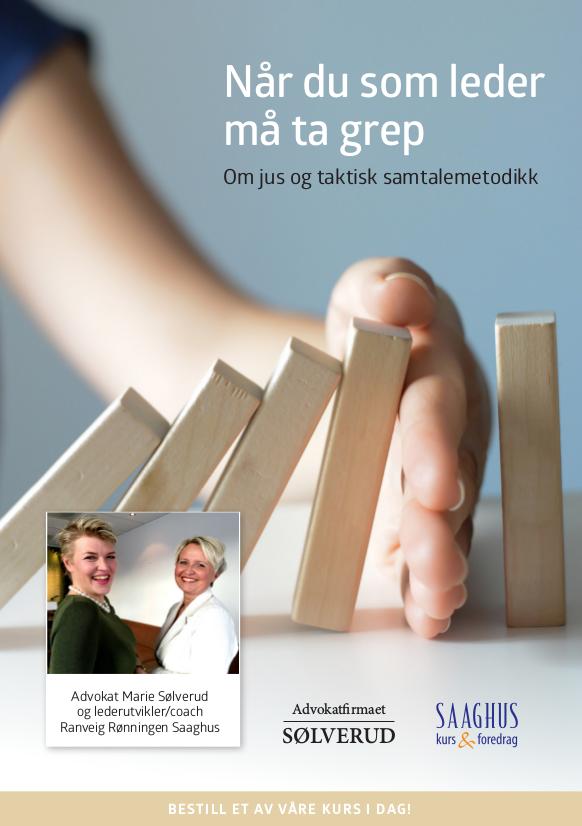 Bilde: Cover til PDF-brosjyre om kurs i jus, oppsigelser, nedbemanning og taktisk samtalemetodikk