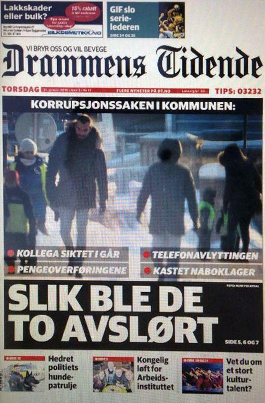 Bilde: Avbilder forsiden til Drammens Tidende med en av våre saker på forsiden.